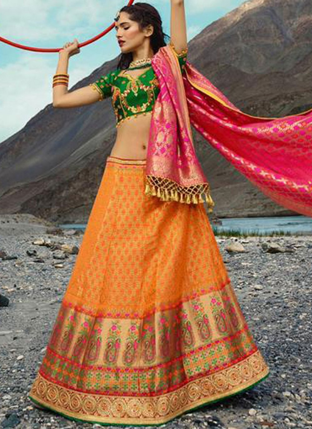 Zari Orange Lehenga Choli