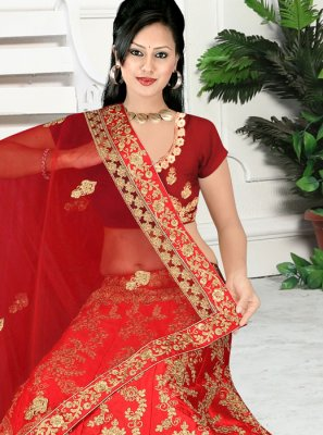 Zari Red Satin Silk Trendy Lehenga Choli