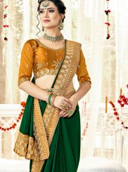 Zari Satin Green Trendy Saree