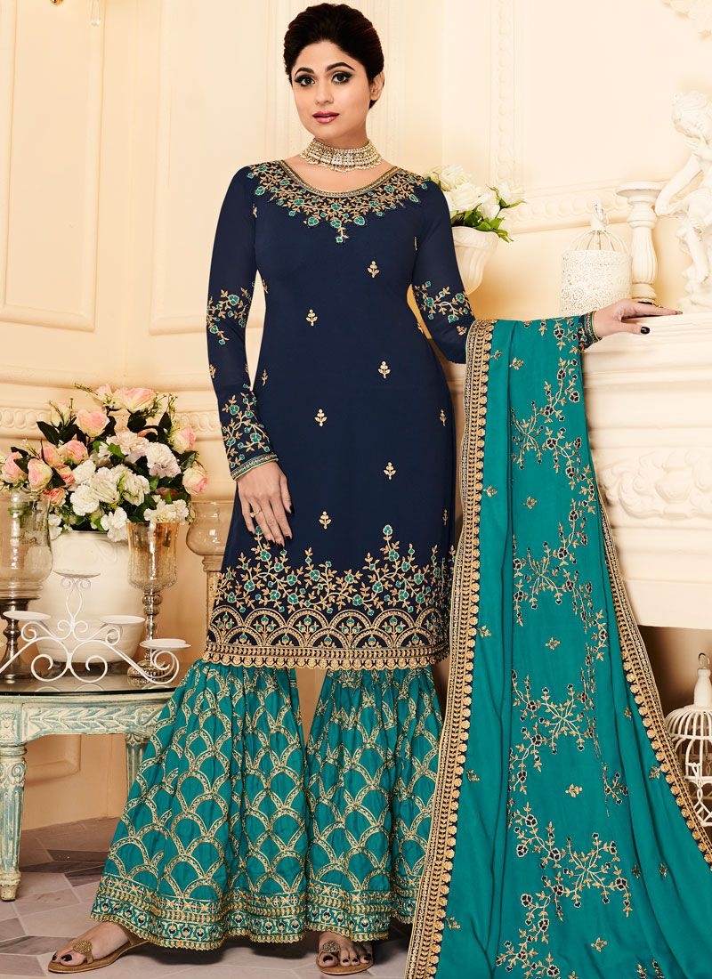 Zari Shamita Shetty Designer Pakistani Suit