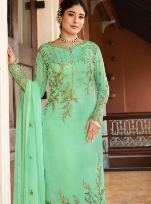 Zari Turquoise Georgette Pant Style Suit