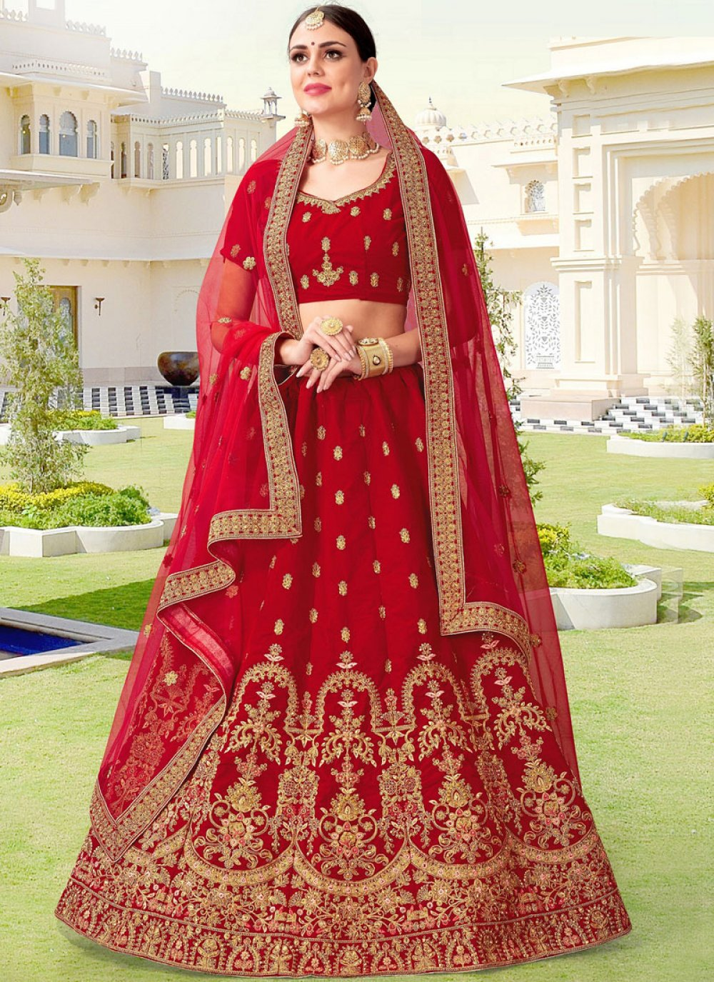 Zari Velvet Lehenga Choli in Red