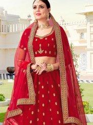 Zari Velvet Lehenga Choli in Red