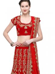 Zari Velvet Trendy Lehenga Choli in Red