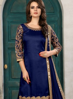 Zari Work Art Silk Salwar Kameez