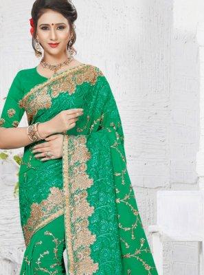 Zari Work Faux Georgette Classic Designer Saree