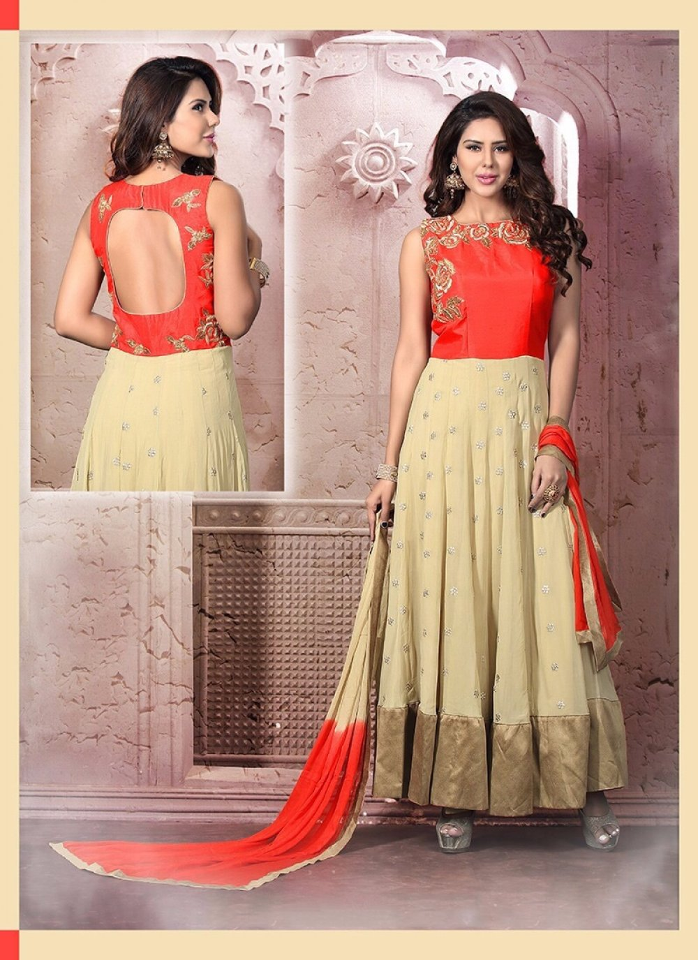 Zari Work Georgette Red Anarkali Salwar Suit