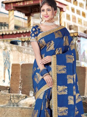 Zari Work Navy Blue Art Silk Traditional Designer Saree