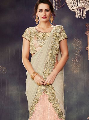 Zari Work Net Lehenga Saree