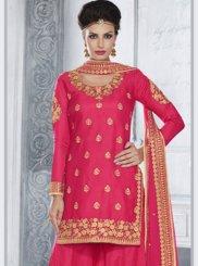 Zari Work Tussar Silk Designer Palazzo Salwar Suit