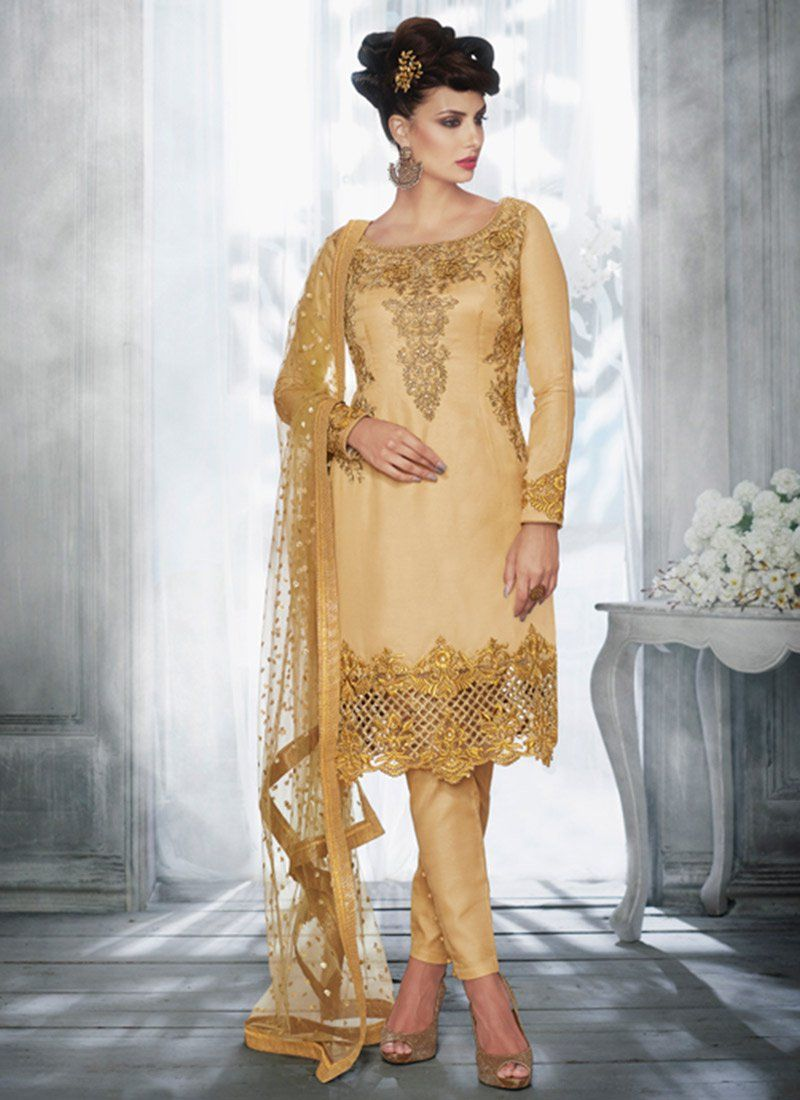 Zari Work Tussar Silk Pant Style Suit
