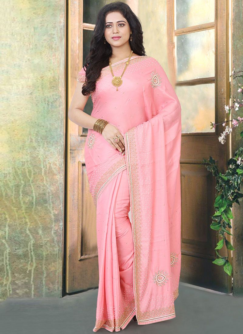 Zircon Pink Silk Designer Traditional Saree