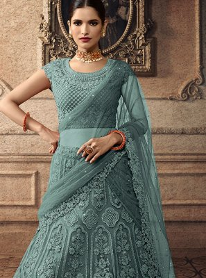 A Line Lehenga Choli Embroidered Net in Green