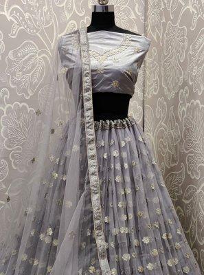 A Line Lehenga Choli Embroidered Net in Grey