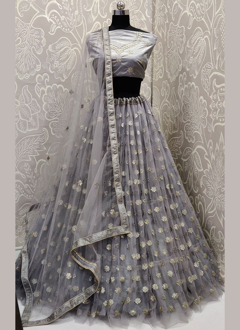 A Line Lehenga Choli Embroidered Net in Grey