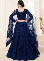 A Line Lehenga Choli Embroidered Satin Silk in Blue