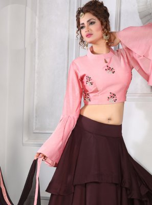 A Line Lehenga Choli Embroidered Silk in Maroon