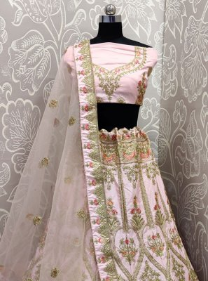 A Line Lehenga Choli Embroidered Velvet in Pink