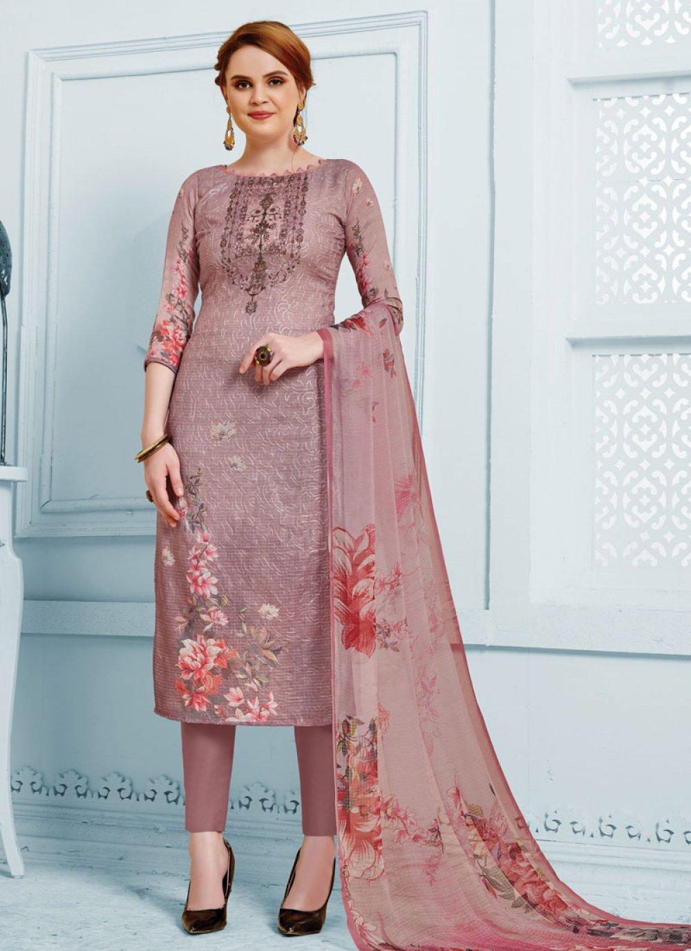Aariwork Brown Silk Straight Suit