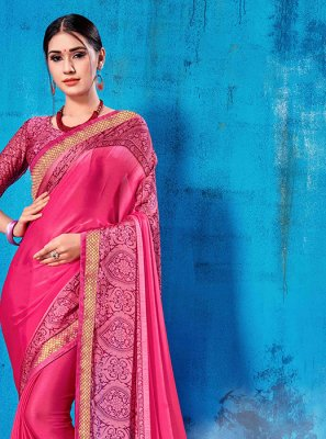 Abstract Print Art Silk Pink Traditional Saree