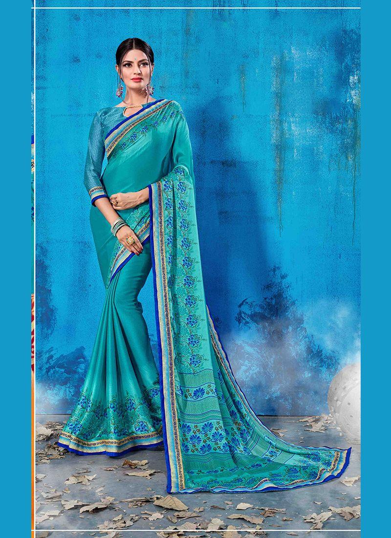 Abstract Print Blue Traditional Saree