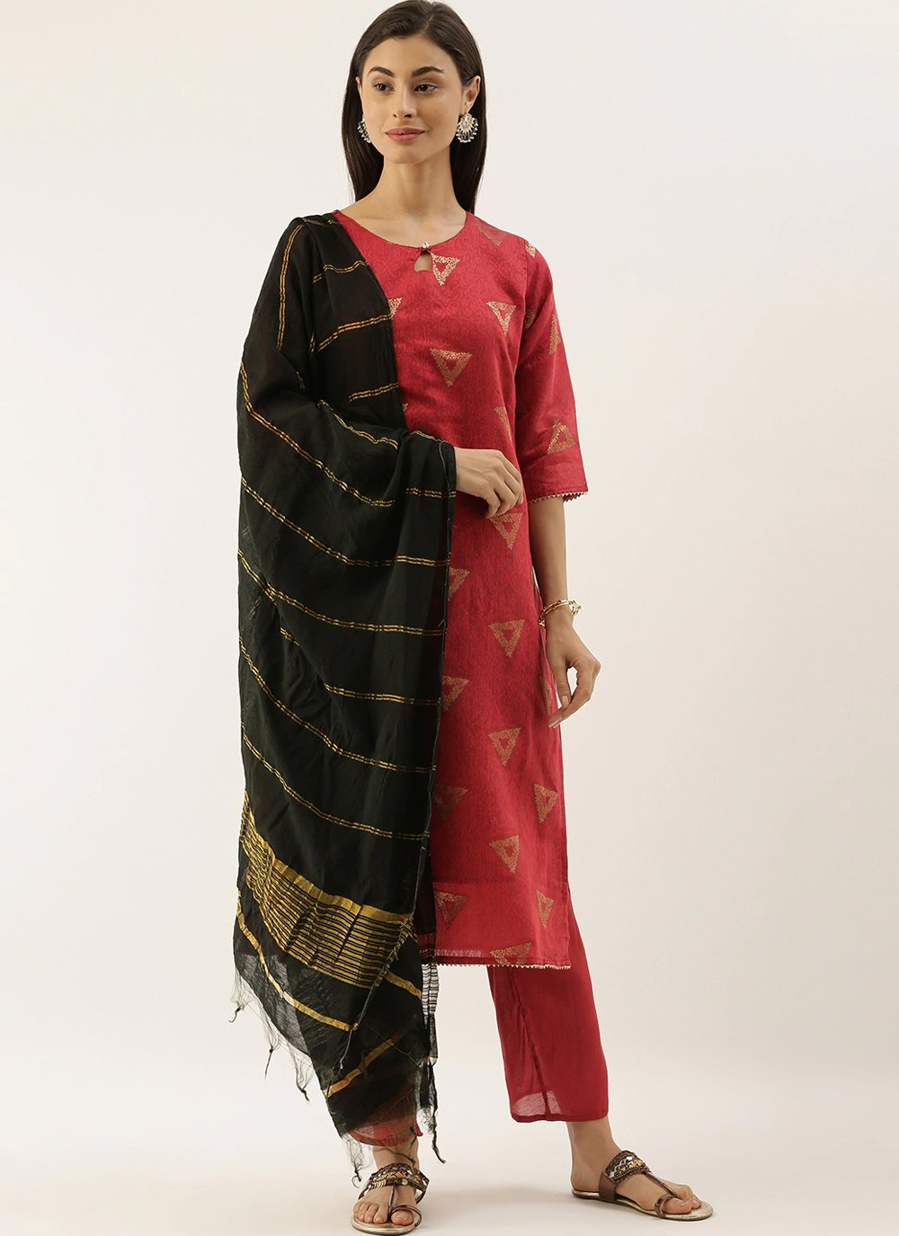 Abstract Print Chanderi Trendy Salwar Suit in Red