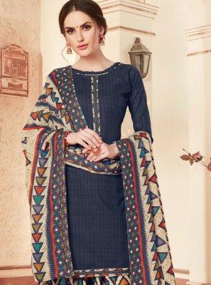 Abstract Print Cotton Blue Punjabi Suit