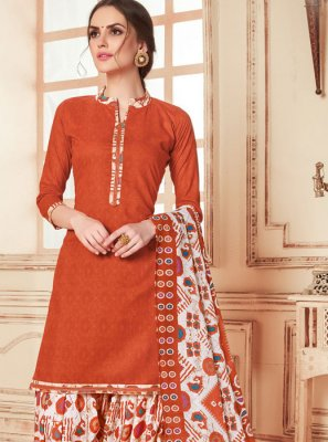 Abstract Print Cotton Punjabi Suit in Orange