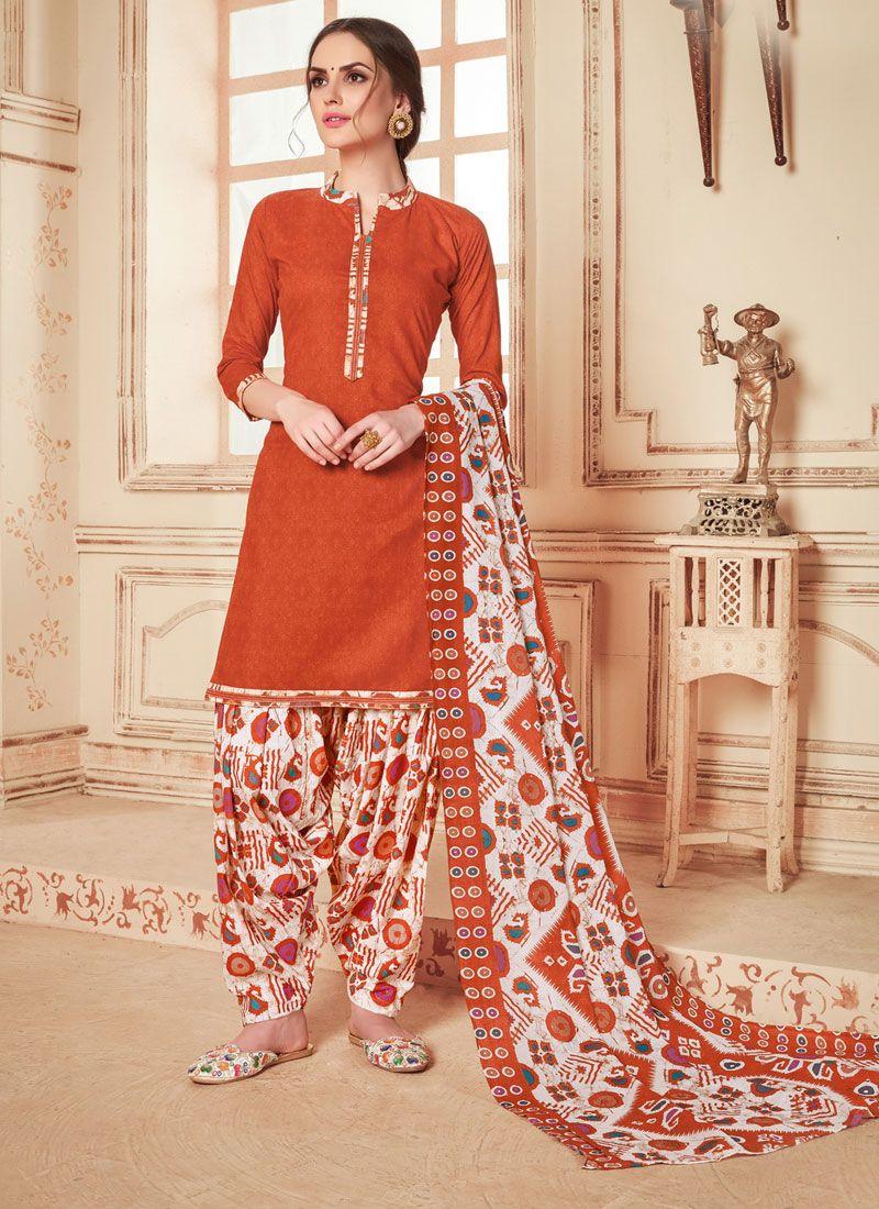 Abstract Print Cotton Punjabi Suit in Orange
