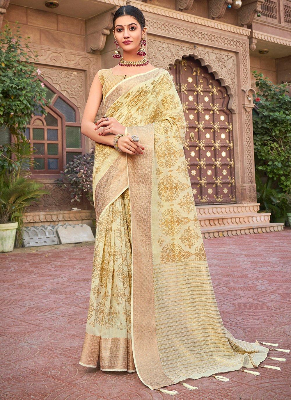 Abstract Print Cotton Silk Silk Saree