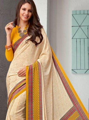 Abstract Print Cream Printed Saree