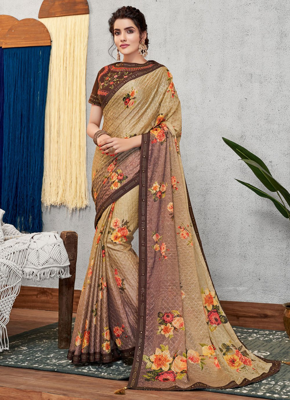 Abstract Print Faux Georgette Designer Traditional Saree in Multi Colour