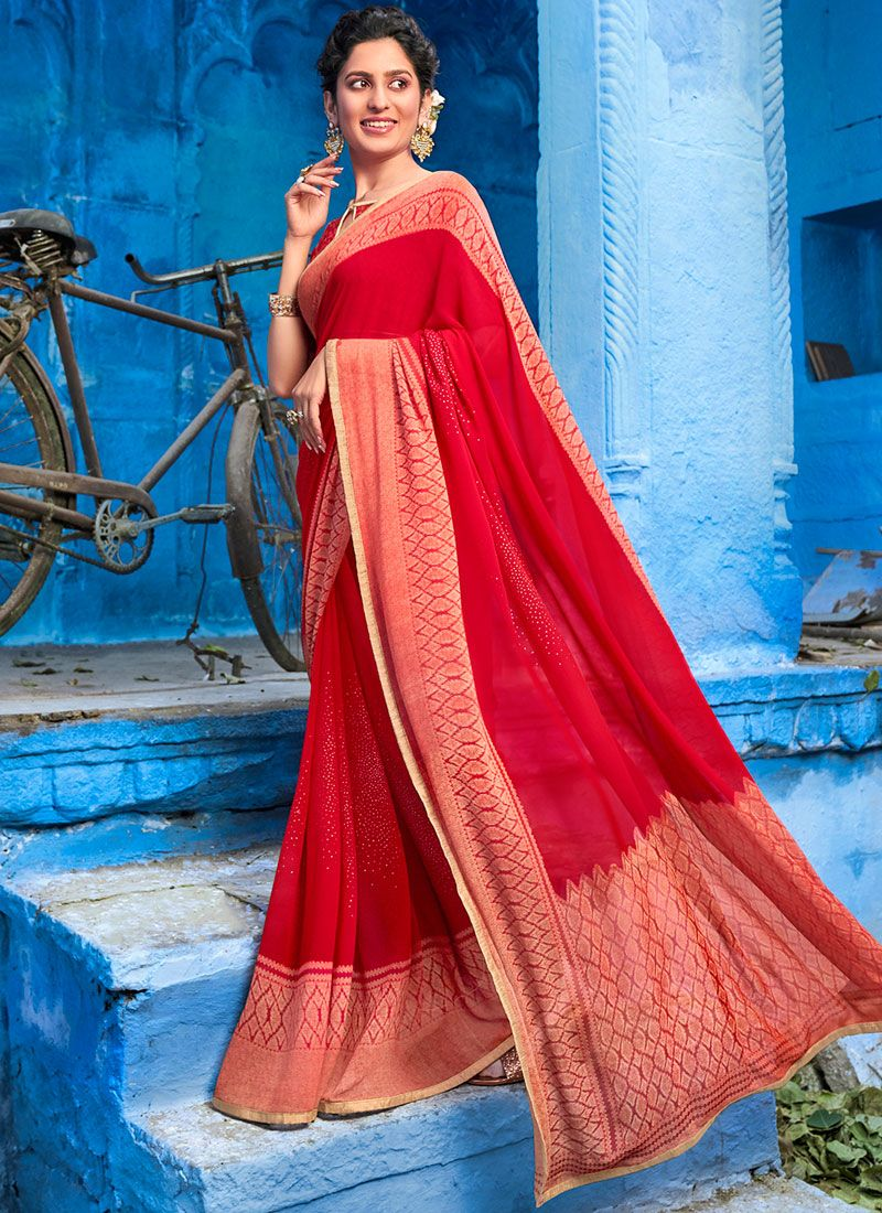 Abstract Print Faux Georgette Red Classic Saree