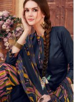 Abstract Print Jacquard Navy Blue Patiala Suit
