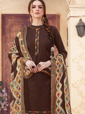 Abstract Print Jacquard Patiala Suit in Brown
