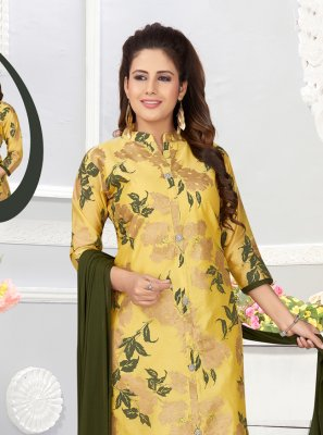 Abstract Print Yellow Salwar Kameez