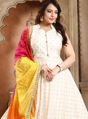 Anarkali Salwar Kameez Embroidered Tafeta Silk in Off White
