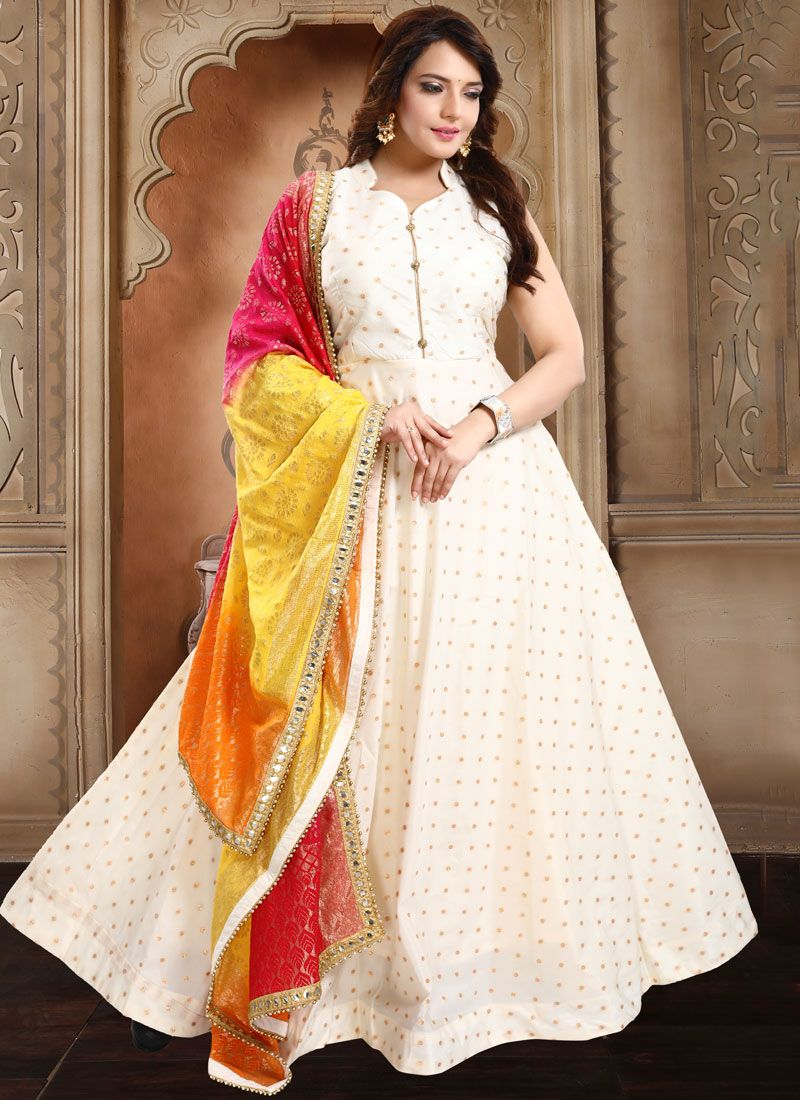 Anarkali Salwar Kameez Embroidered Tafeta Silk in Off White