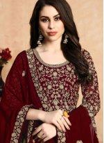 Anarkali Salwar Kameez Resham Georgette in Maroon