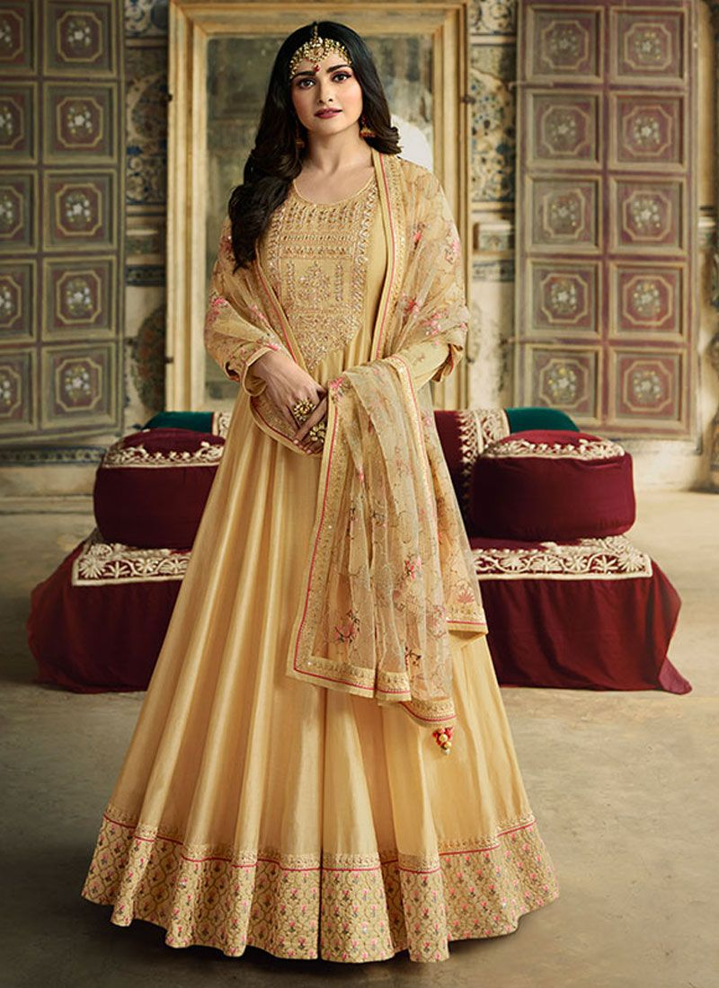 Anarkali Salwar Kameez Zari Silk in Yellow