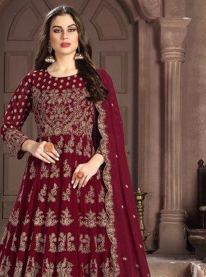 Anarkali Salwar Suit Embroidered Georgette in Maroon
