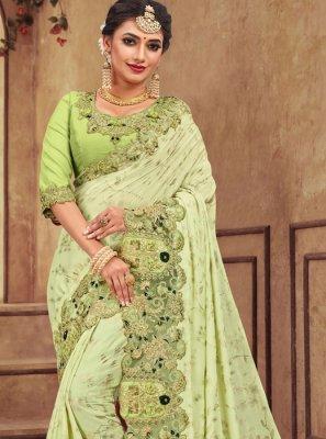 Applique Georgette Satin Trendy Saree in Sea Green