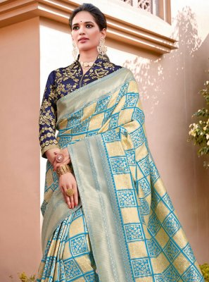 Aqua Blue and Cream Silk Zari Half N Half Trendy Saree