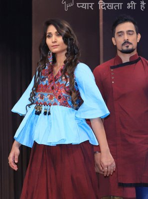 Aqua Blue and Maroon Festival A Line Lehenga Choli