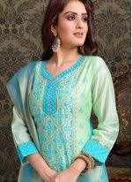 Aqua Blue and Turquoise Embroidered Chanderi Churidar Salwar Kameez