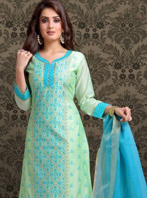 Aqua Blue and Turquoise Embroidered Chanderi Churidar Salwar Kameez