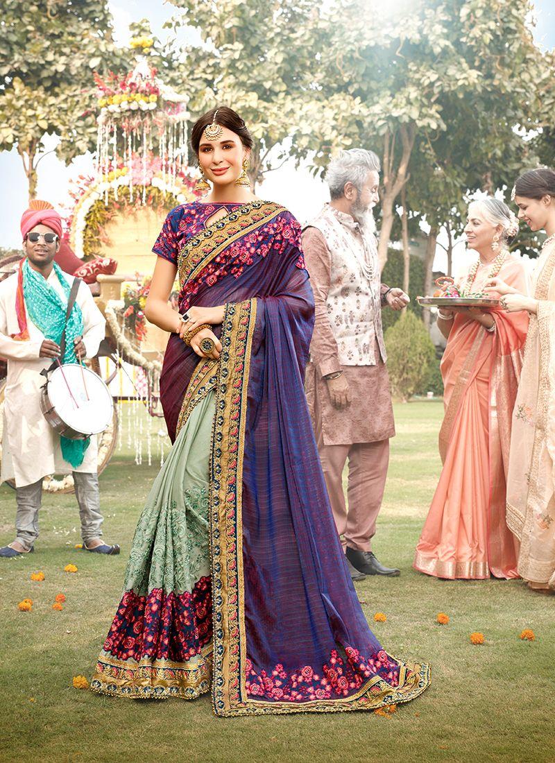 Aqua Blue and Violet Embroidered Ceremonial Classic Designer Saree