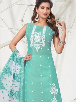Aqua Blue Banarasi Silk Reception Designer Salwar Kameez