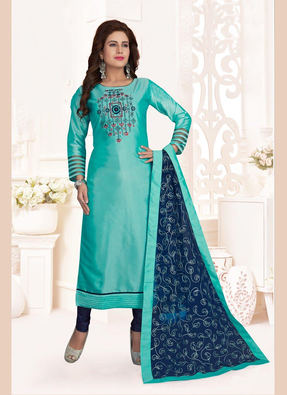 Aqua Blue Ceremonial Art Silk Churidar Salwar Suit
