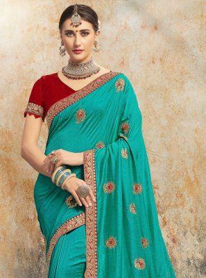 Aqua Blue Color Contemporary Saree